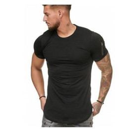 mens long sleeve summer tees Australia - 20ss Mens Summer Sports Tshirts Designer Zipper Sleeves O Neck White Blue Khaki Black Tees