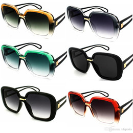 Wholesale Outdoor Eyewear Big frame square two color gradient clam mirror lady hollow PC eyeglasses riding gear Cycling