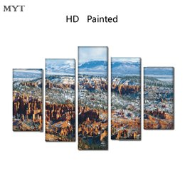 Cheap Wall Canvas Prints Australia - Cheap Unframed HD Printed 5 Pieces paintings Natural scenery Module Wall Art Pictures on Canvas for living room bedroom home decor