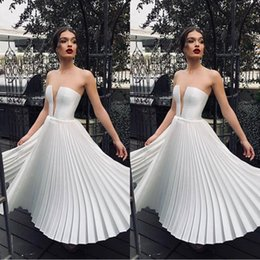 Discount wrinkle skirt - White V Neck A Line Tea Length Party Dresses With Wrinkles Ruffle Skirt Women Causal Cocktail Gowns 2036