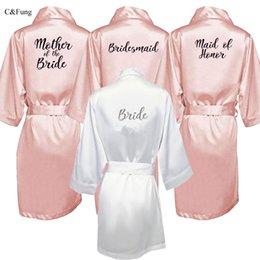 Silver Black Mother Bride Australia - C&Fung new bride bridesmaid robe with white black letters mother sister of the bride wedding gift bathrobe kimono satin robes Y19042803