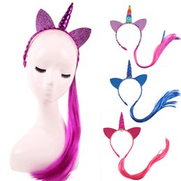 braid hair accessories Australia - Nishine Rainbow Color Ponytail Unicorn Horn Headbands Glitter Ears Kids Girls Princess Braid Wig Hairbands Hair Accessories