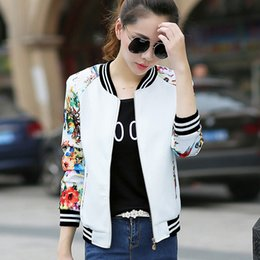 women floral baseball jacket Canada - 2020 New Summer Women Bomber Print Long Sleeve Basic Jacket Coats Women Casual Thin Slim Female White Baseball Plue Size Jackets