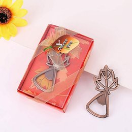 Wholesale Copper Maple Leaf Beer Bottle Opener Bar Tool Wedding Favors Souvenirs Gifts Party Supplies