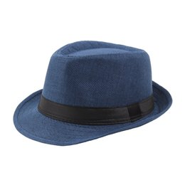 Chinese  2019 Hot Unisex Trilby Gangster Cap Beach Sun Straw Hat Band Sunhat manufacturers