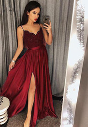 $enCountryForm.capitalKeyWord UK - Lace Bodice Prom Dresses Long 2019 A Line High Split Evening Dresses Applique V-Neck Elegant Spaghetti Straps Party Dress Cocktail Gowns