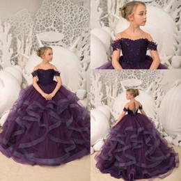 6b9f7e298 2019 New Dark Purple Flower Girl Dresses Sheer Neck Short Sleeve Tulle A  Line Layered Ruffles Skirt Lace Applique Top Girl Pageant Dresses