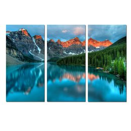 contemporary frames canvas prints Australia - Wall Art Contemporary Print Painting Mountains Nature Glacial Lake Landscape Abstract Canvas Living Room picture Bedroom for Office Decor