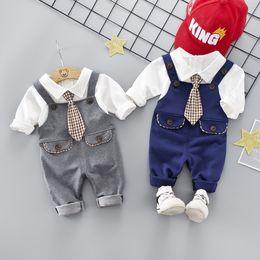 $enCountryForm.capitalKeyWord Australia - Casual Boy Kids 3 Piece Sets Clothing Baby Spring turn down collar Long sleeve Shirt + Pant+Tie Spring fall boy clothing sets