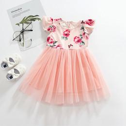 Flowers clothing online shopping - Retail girls dress baby girl flower print flutter sleeve lace mesh tutu dresses kids princess skirts children boutique designer clothing