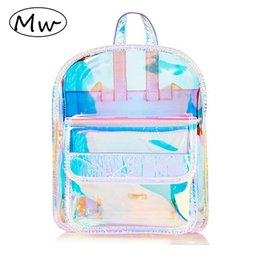 clear pvc backpacks NZ - Moon Wood Fashion Hologram Small Laser Transparent Backpack Waterproof PVC Clear Daily Backpack Teenage Girls School Bag ShinyMX190903