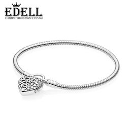 2b93fa477 EDELL 100% 925 Sterling Silver New 597602 MOMENTS SMOOTH BRACELET WITH  REGAL HEART PADLOCK CLASP Fashion Original Jewelry