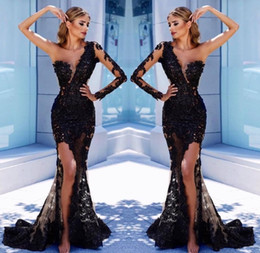 one sleeve prom dresses slit 2019 - Black One Shoulder Mermaid Prom Dresses 2019 Sheer Long Sleeve Side Slit Lace Applqiues Evening Dresses Sweep Train Spec