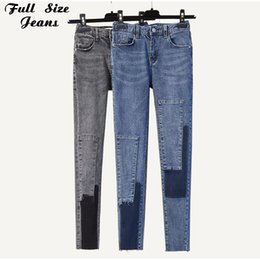 women patched pants NZ - Plus Size Ripped Patches Slim Capris Pencil Jeans 3Xl 4Xl Women Mid Waist Gradient Color Ankle Length Denim Pants Mom Jean T200424