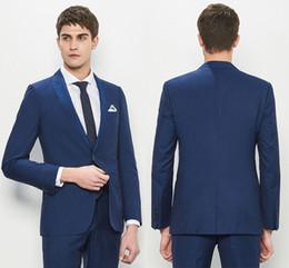 slim fit gray suit 2019 - Newest Slim Fit Groom Tuxedos Dark Blue Best Man Suit Notch Lapel Groomsman Men Wedding Suits Bridegroom(Jacket+Pants )