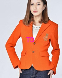 Polo Coats Australia - Outdoor Winter Women Solid Polo Jackets Orange Color Cotton Girls Classic Coats Slim Fit Single Breasted Casual Jackets S-XL