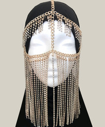 Luxury Chains Australia - Face Veil Tribal Fashion Golden Chandelier Face Chain Harness Jewelry Headdress Luxury Crystal Paved Head Chain Facemask Chain For Bridal