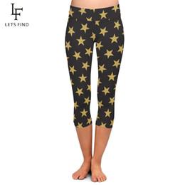 af2286ebc7995d Fashion Pentagram Print Women Black Capri Leggings High Waist Milk Silk  Mid-Calf 3 4 Stretch Casual Leggings Plus Size