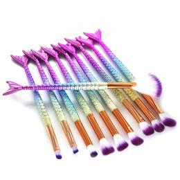 Benefit makeup online shopping - 10PCS Mermaid Makeup Brushes Set Foundation Blending Powder Brush Eyeshadow Contour