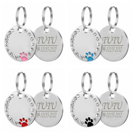 $enCountryForm.capitalKeyWord Australia - Dog ID Tag Engraved Metal Customized Pet Tags Small Large Dog Accessories Personalized Diamond decoration Name Tag for Callor