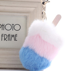 wholesale ice cream jewelry Australia - Free DHL Fashion Fur Ball Keychains Ice Cream Popsicle Keyring For Girl Women Bag Car Accessories Jewelry Wallet Key Chain Rings H586Q Y