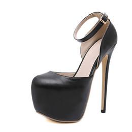 Black Round Toe Women Pumps Buckle Strap Sexy 16cm Temperament Party High-heeled  shoes Wedding Pumps Ladies shoes 5c13772161c8