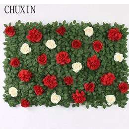 Wholesale 4pcs Artificial roses green plant flower wall Christmas NEW year home decoration accessories wedding scene layout fake flower wall