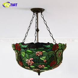Pendant Lampshades Australia - FUMAT European Classic Villa Pendant Light Lotus Lampshade Stained Glass Lightings For Living Room Dining Room Pendant Lights
