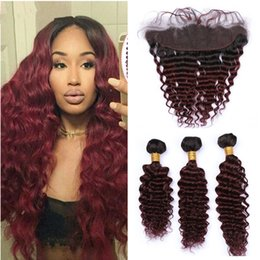 $enCountryForm.capitalKeyWord Australia - Two Tone 1B 99J Burgundy Dark Root Ombre Brazilian Virgin Human Hair Deep Wave 3 Bundles With Lace Frontal Ombre Bundles With Closure