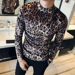 bd8947ef Leopard Printed T Shirts Winter Mens Velvet Mens Tops Slim Fit Turtleneck T  Shirt Mens Long Sleeve T Shirt Blusa Masculina
