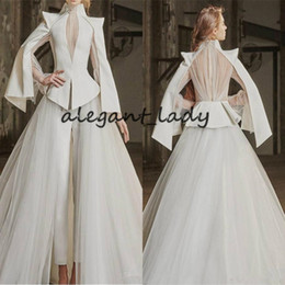 Wholesale plus size pleated jumpsuit resale online – Vintage Wedding Jumpsuit with Detachable Train Long Sleeve High Neck Plus Size robes de mariée Bride Pant Suit Wedding Gown