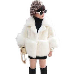 White Short Sleeve Faux Fur Australia - 2019 Children Faux Fur Coat Baby Girl Autumn Winter Warm Short Thicker Clothing Long Sleeve Luxury Princess Outerwear N62