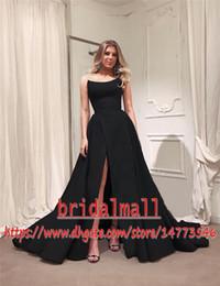Gothic black eveninG Gown online shopping - Gothic Black Plus Size Cheap Long Prom Dresses High Split Long Satin Arabic Formal Dress Evening Party Wear Gowns Robe de soirée