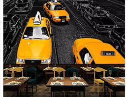 chinese restaurant decor NZ - 3D Custom wall papers home decor photo wallpaper Yellow taxi bar restaurant background wall paper for walls papel de parede
