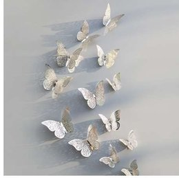 Butterfly Stickers For Papers Australia - 12 Pcs Set 3D Wall Stickers Butterfly Hollow Paper 3Sizes Silver Gold For Fridge Stickers Home Party Wedding Decor F507