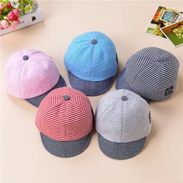 Discount baby boys snapbacks Baby Hat Summer Cotton Casual Striped Star Eaves Baseball Cap Boy kids Beret Girls Sun beach outdoor Hat Gift Snapbacks
