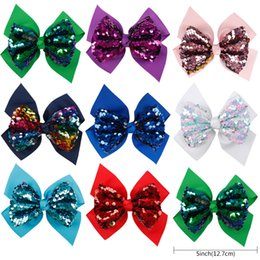 sequin bows wholesale NZ - 5 Inch Reversible Sequin Hair Bow Cute Grosgrain Ribbon Two Layers Hair Clips For Girls Handmade Headwear Hair Accessories