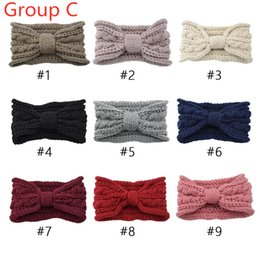 Discount green turban Free DHL 70+ Lady Girls Knitted Headbands Turban Crochet Twist Headwear Winter Ear Warmer Headwrap Elastic Band Women Hair Accessories