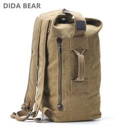 large travelling backpacks Canada - Large Capacity Rucksack Man Travel Bag Mountaineering Backpack Male Luggage Canvas Bucket Shoulder Bags for Boys Men Backpacks CJ191212