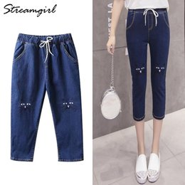 black capri pants plus size NZ - Streamgirl High Waist Jeans Plus Size Black Woman Summer Capri Jeans With Embroidery Elastic Waist Denim Pants Capris Women 2019