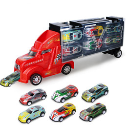 toy alloy cars set 2019 - Portable Kids Mini Pull Back Cars Toy Diecast Alloy Car Model Toys Container Truck Child Kids Best Gift 12pcs set cheap