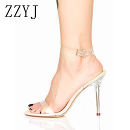 Discount transparent pvc open toe heels - ZZYJ womens sandals Brand high heel sandals Strappy open-toed stiletto heel shoes For female transparent PVC Ankle strap