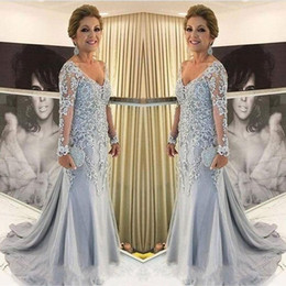 $enCountryForm.capitalKeyWord Australia - Lace Light Sky Blue Sweep Train Tulle V Neck Plus Size Sheath Mother of the Bride Dresses Long Sleeve Formal Vintage Evening Gowns