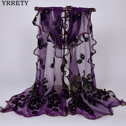 Discount long feather scarf YRRETY New Design Women Chiffon Peacock Feather Flower Embroidered Lace Stylish Scarf Long Soft Wrap Shawl Ladies Scarf