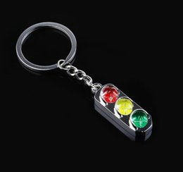 Discount dhl key ring DHL Red and green Keychain Key light traffic signal light souvenir gift metal Chain Keyring 3D Keyfob car Key ring NT