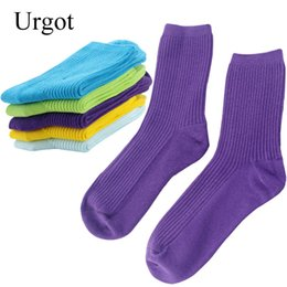 double cotton socks UK - Urgot 5 Pairs Autumn Winter Double Needle Women's Socks Cotton Candy Color Tube Socks Women Pure Color Cotton Calcetines Hombre