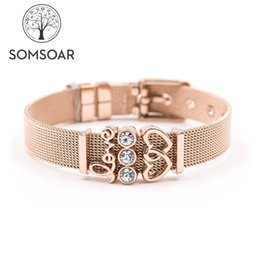 Mesh stainless steel bangle wholesale online shopping - Dropshipping Somsoar Jewelry Rose Gold LOVERS SET Mesh Bracelet Stainless steel Bangle Story Bracelet as Valentines Gift