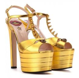 $enCountryForm.capitalKeyWord NZ - fashion design Women Party Shoes Platform Gladiator Sandals t-strap rivets peep toe heels gold fuchsia sandals