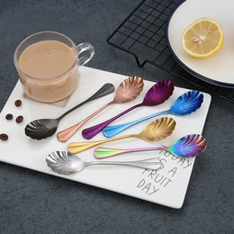 $enCountryForm.capitalKeyWord NZ - ECO Friendly Creative Coffee Spoon Cute Shell Spoon Handle Spoons Flatware Coffee Drinking Tools Stainless Steel Kitchen Gadget