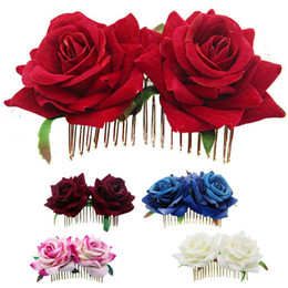 white red roses prom Australia - 1Pcs White Red Rose Flower Hair Combs for Bridal Fashion Handmade Wedding Jewelry Women Prom Headpiece Charm Hair Accessories2019